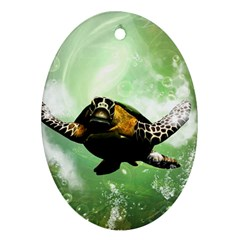 Beautiful Seaturtle With Bubbles Oval Ornament (Two Sides)