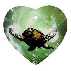 Beautiful Seaturtle With Bubbles Heart Ornament (2 Sides)