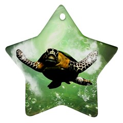 Beautiful Seaturtle With Bubbles Star Ornament (Two Sides)