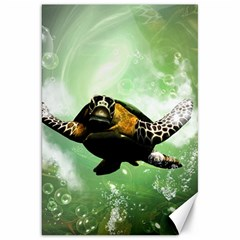 Beautiful Seaturtle With Bubbles Canvas 20  x 30