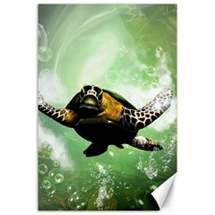 Beautiful Seaturtle With Bubbles Canvas 24  x 36