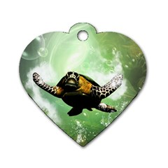 Beautiful Seaturtle With Bubbles Dog Tag Heart (One Side)