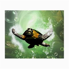 Beautiful Seaturtle With Bubbles Small Glasses Cloth (2-Side)