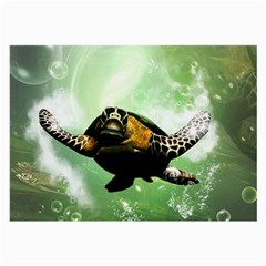 Beautiful Seaturtle With Bubbles Large Glasses Cloth