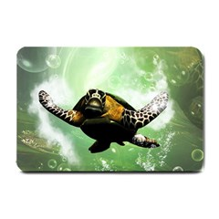 Beautiful Seaturtle With Bubbles Small Doormat