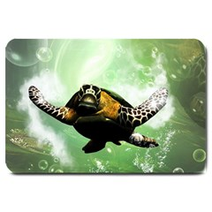 Beautiful Seaturtle With Bubbles Large Doormat
