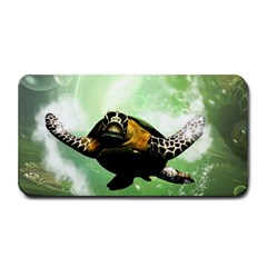 Beautiful Seaturtle With Bubbles Medium Bar Mats