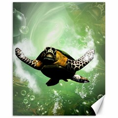 Beautiful Seaturtle With Bubbles Canvas 11  x 14