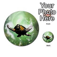Beautiful Seaturtle With Bubbles Multi-purpose Cards (Round)
