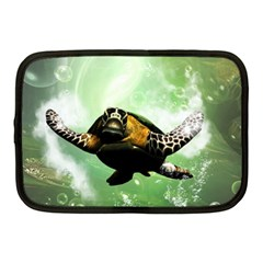 Beautiful Seaturtle With Bubbles Netbook Case (Medium)