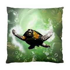 Beautiful Seaturtle With Bubbles Standard Cushion Case (One Side)