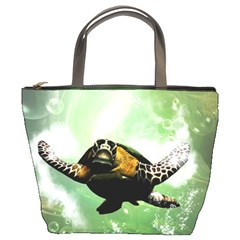 Beautiful Seaturtle With Bubbles Bucket Bags
