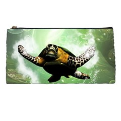 Beautiful Seaturtle With Bubbles Pencil Cases