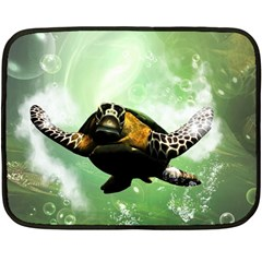 Beautiful Seaturtle With Bubbles Double Sided Fleece Blanket (Mini)