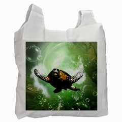 Beautiful Seaturtle With Bubbles Recycle Bag (One Side)