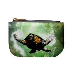 Beautiful Seaturtle With Bubbles Mini Coin Purses