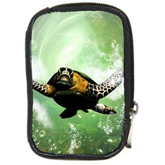 Beautiful Seaturtle With Bubbles Compact Camera Cases