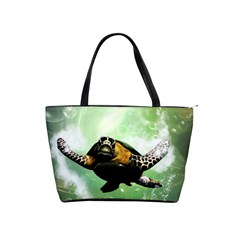 Beautiful Seaturtle With Bubbles Shoulder Handbags