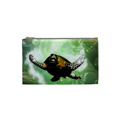 Beautiful Seaturtle With Bubbles Cosmetic Bag (Small)