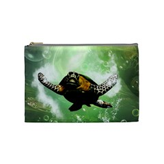 Beautiful Seaturtle With Bubbles Cosmetic Bag (Medium)