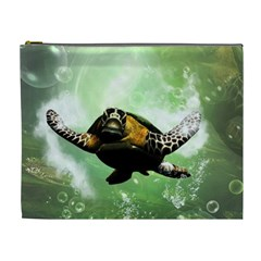 Beautiful Seaturtle With Bubbles Cosmetic Bag (XL)