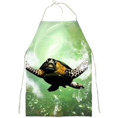 Beautiful Seaturtle With Bubbles Full Print Aprons