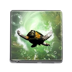 Beautiful Seaturtle With Bubbles Memory Card Reader (Square)