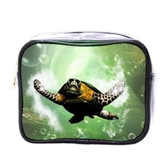 Beautiful Seaturtle With Bubbles Mini Toiletries Bags