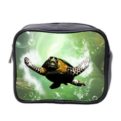 Beautiful Seaturtle With Bubbles Mini Toiletries Bag 2-Side