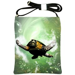 Beautiful Seaturtle With Bubbles Shoulder Sling Bags
