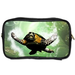 Beautiful Seaturtle With Bubbles Toiletries Bags