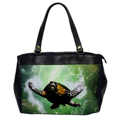 Beautiful Seaturtle With Bubbles Office Handbags