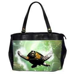 Beautiful Seaturtle With Bubbles Office Handbags (2 Sides)