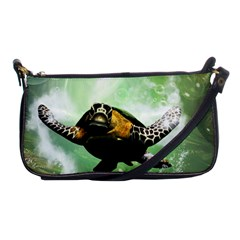Beautiful Seaturtle With Bubbles Shoulder Clutch Bags