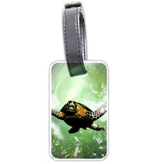 Beautiful Seaturtle With Bubbles Luggage Tags (One Side)
