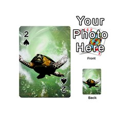 Beautiful Seaturtle With Bubbles Playing Cards 54 (Mini)