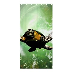Beautiful Seaturtle With Bubbles Shower Curtain 36  x 72  (Stall)
