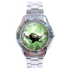 Beautiful Seaturtle With Bubbles Stainless Steel Men s Watch