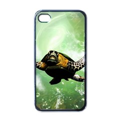 Beautiful Seaturtle With Bubbles Apple iPhone 4 Case (Black)