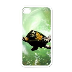 Beautiful Seaturtle With Bubbles Apple iPhone 4 Case (White)