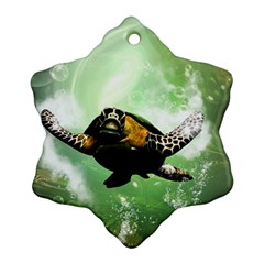 Beautiful Seaturtle With Bubbles Snowflake Ornament (2-Side)