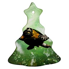 Beautiful Seaturtle With Bubbles Christmas Tree Ornament (2 Sides)