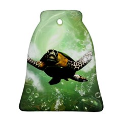 Beautiful Seaturtle With Bubbles Bell Ornament (2 Sides)