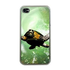 Beautiful Seaturtle With Bubbles Apple iPhone 4 Case (Clear)