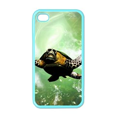 Beautiful Seaturtle With Bubbles Apple iPhone 4 Case (Color)