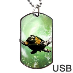 Beautiful Seaturtle With Bubbles Dog Tag USB Flash (One Side)