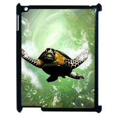 Beautiful Seaturtle With Bubbles Apple iPad 2 Case (Black)