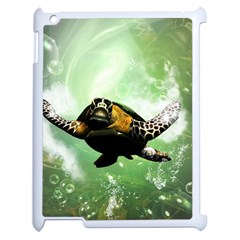 Beautiful Seaturtle With Bubbles Apple iPad 2 Case (White)