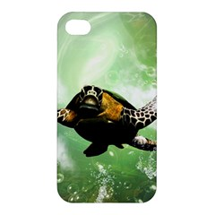 Beautiful Seaturtle With Bubbles Apple iPhone 4/4S Premium Hardshell Case