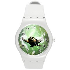 Beautiful Seaturtle With Bubbles Round Plastic Sport Watch (M)